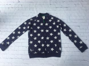 Mini Boden navy and star zip long sleeved top age 11-12